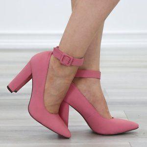 Pink Pointy Toe Ankle Brace Buckle Heels
